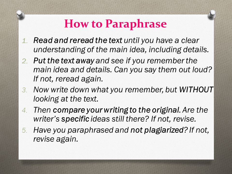 How to Paraphrase 1.