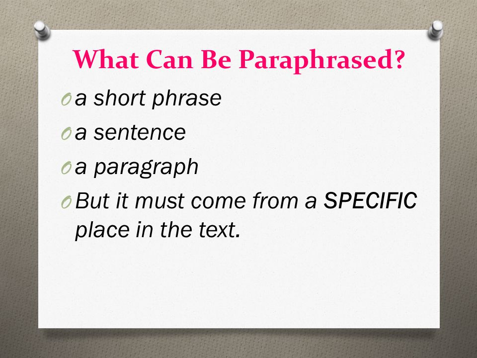 What Can Be Paraphrased.