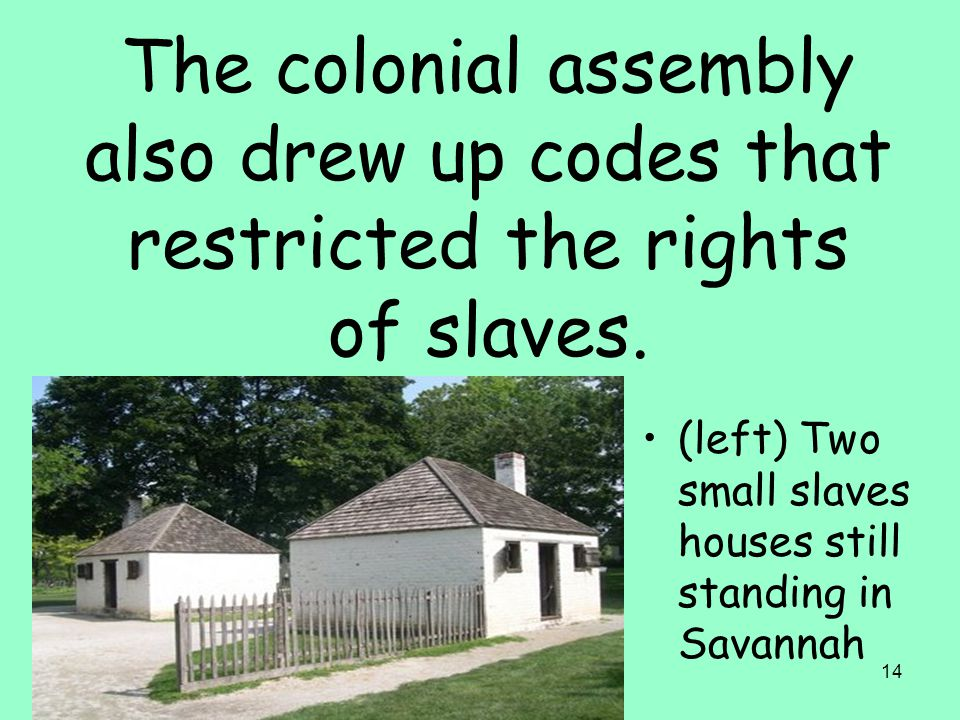 14 The colonial assembly also drew up codes that restricted the rights of slaves.