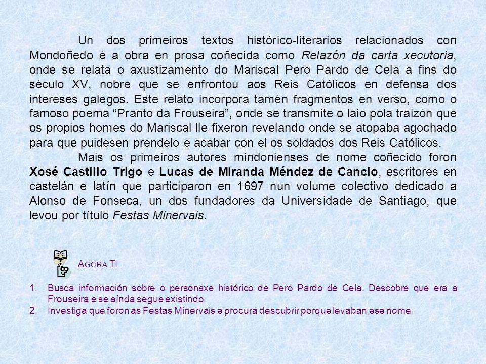 Memorial que contén a Relazón da carta xecutoria Festas Minervais de 1697 Ponte do Pasatempo A min chaman Todomira señora do gran tesouro; por estrela clarecida xago neste Valedouro.