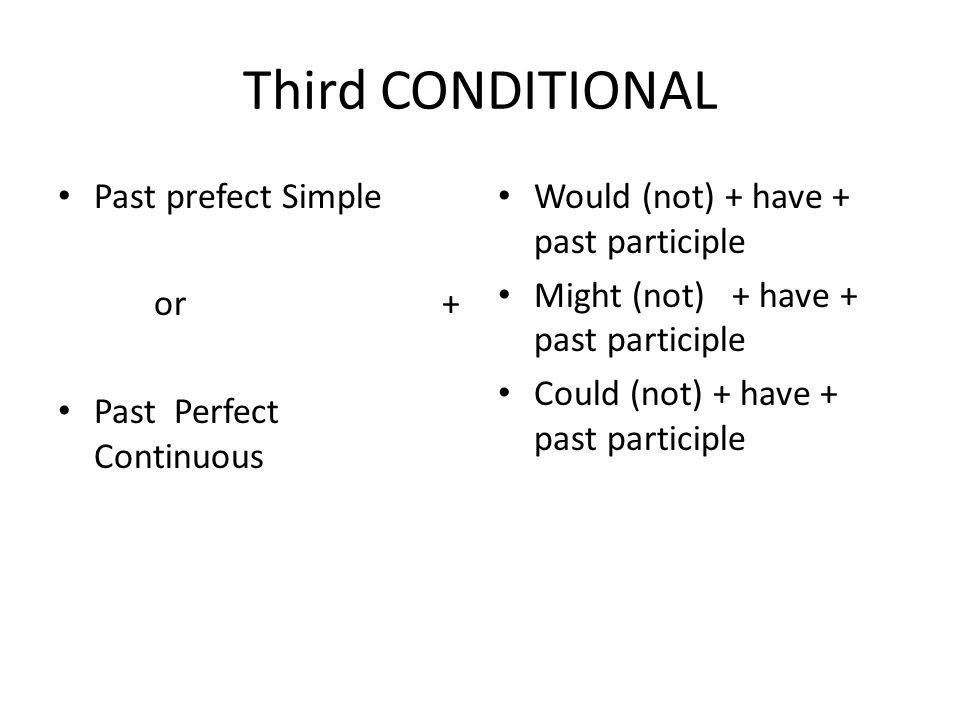 Third CONDITIONAL Past prefect Simple or+ Past Perfect Continuous Would (not) + have + past participle Might (not) + have + past participle Could (not) + have + past participle