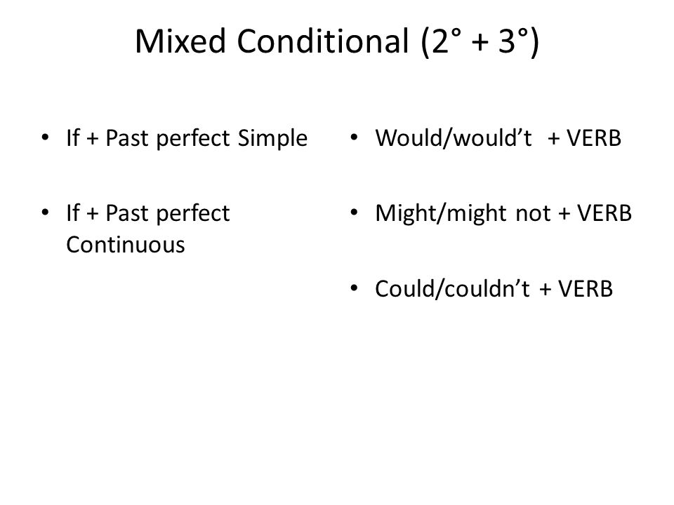 Mixed Conditional (2° + 3°) If + Past perfect Simple If + Past perfect Continuous Would/would't + VERB Might/might not + VERB Could/couldn't + VERB