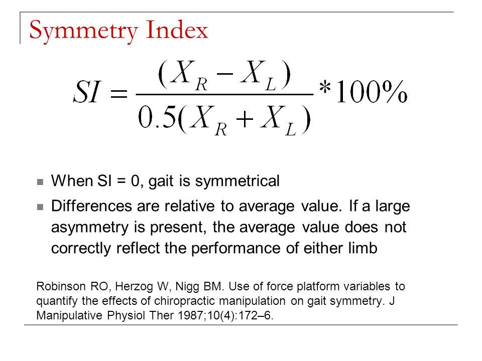 Symmetry Ratio Limitations: relatively small asymmetry and a failure to provide info regarding location of asymmetry Low sensitivity Seliktar R, Mizrahi J.