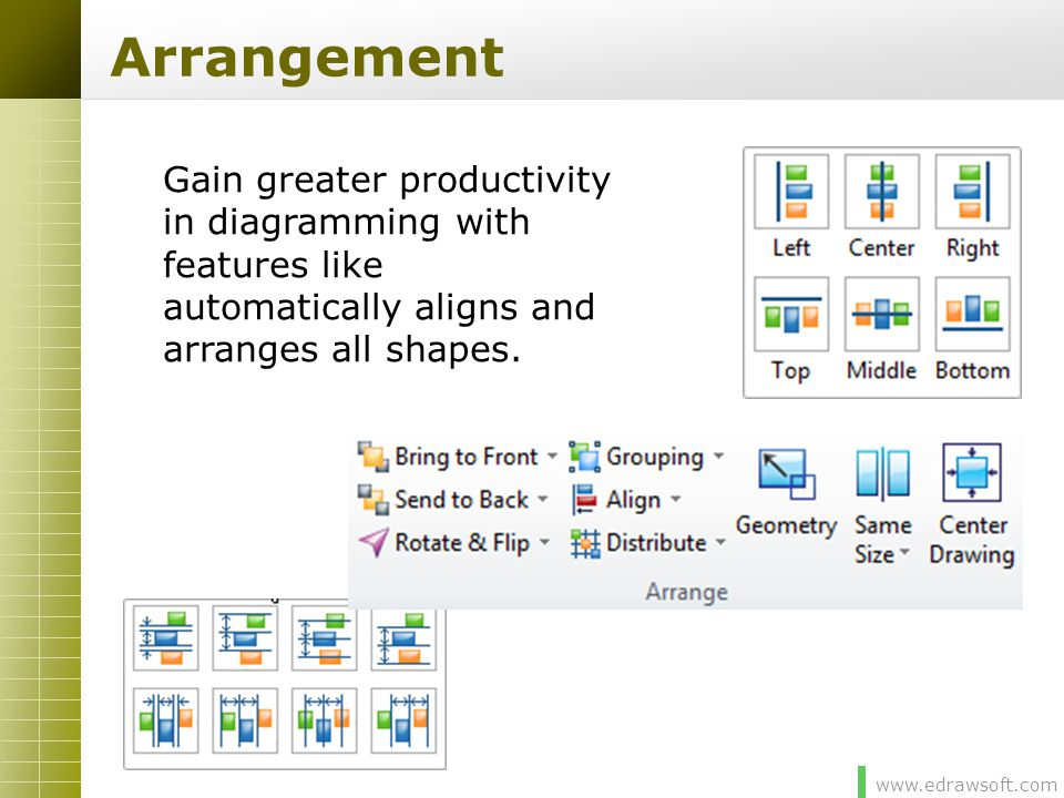 www.edrawsoft.com Arrangement Gain greater productivity in diagramming with features like automatically aligns and arranges all shapes.