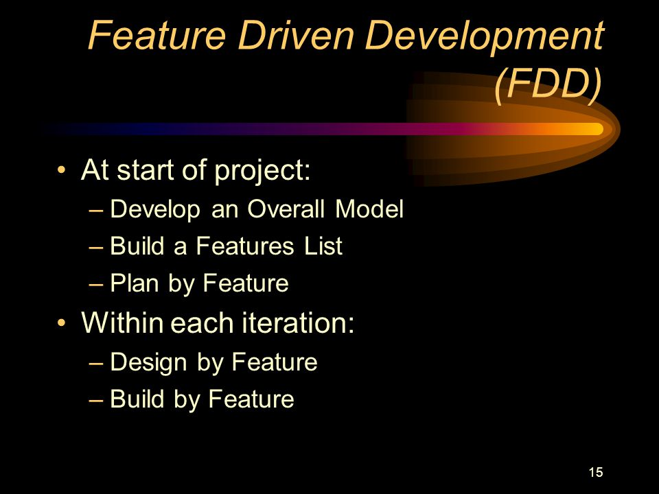 15 Feature Driven Development (FDD) At start of project: –Develop an Overall Model –Build a Features List –Plan by Feature Within each iteration: –Design by Feature –Build by Feature