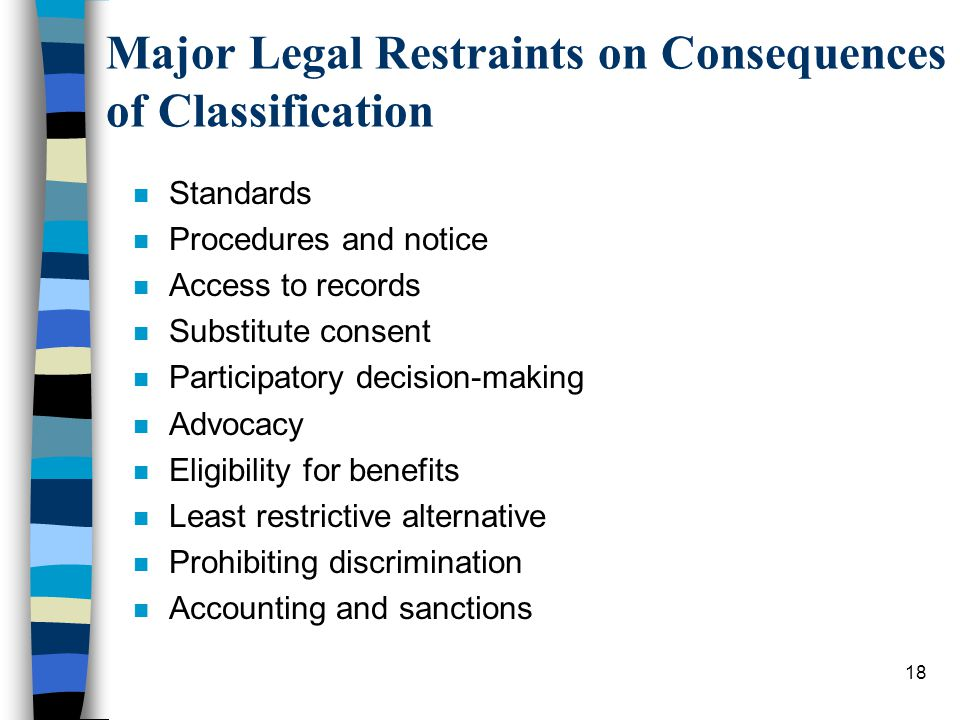 18 Major Legal Restraints on Consequences of Classification n Standards n Procedures and notice n Access to records n Substitute consent n Participatory decision-making n Advocacy n Eligibility for benefits n Least restrictive alternative n Prohibiting discrimination n Accounting and sanctions