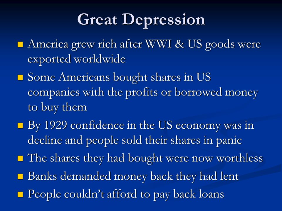  Your task Read the rest of p.28 and around the picture your teacher provides, note down the impact of the Great Depression on Germany.