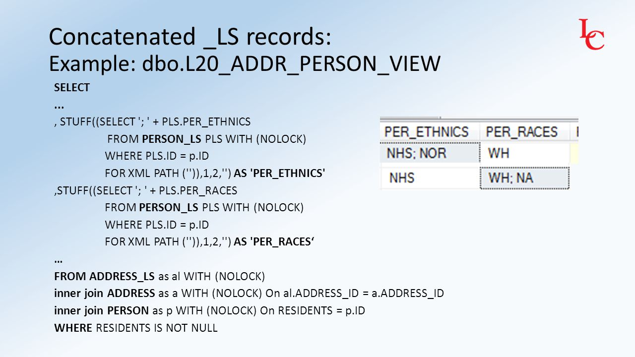 Concatenated _LS records: Example: dbo.L20_ADDR_PERSON_VIEW SELECT..., STUFF((SELECT '; ' + PLS.PER_ETHNICS FROM PERSON_LS PLS WITH (NOLOCK) WHERE PLS