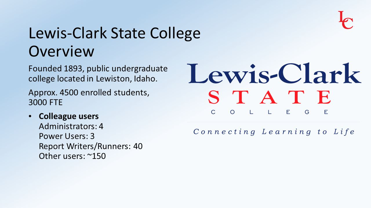 Lewis-Clark State College Overview Founded 1893, public undergraduate college located in Lewiston, Idaho. Approx. 4500 enrolled students, 3000 FTE Col