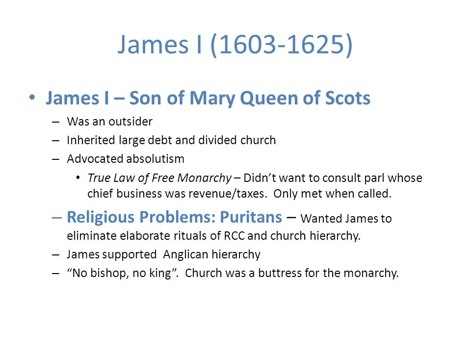 James I James commissions new translation of Bible (King James Version) James allows for sports on Sundays Puritan separatists go to Plymouth Colony.