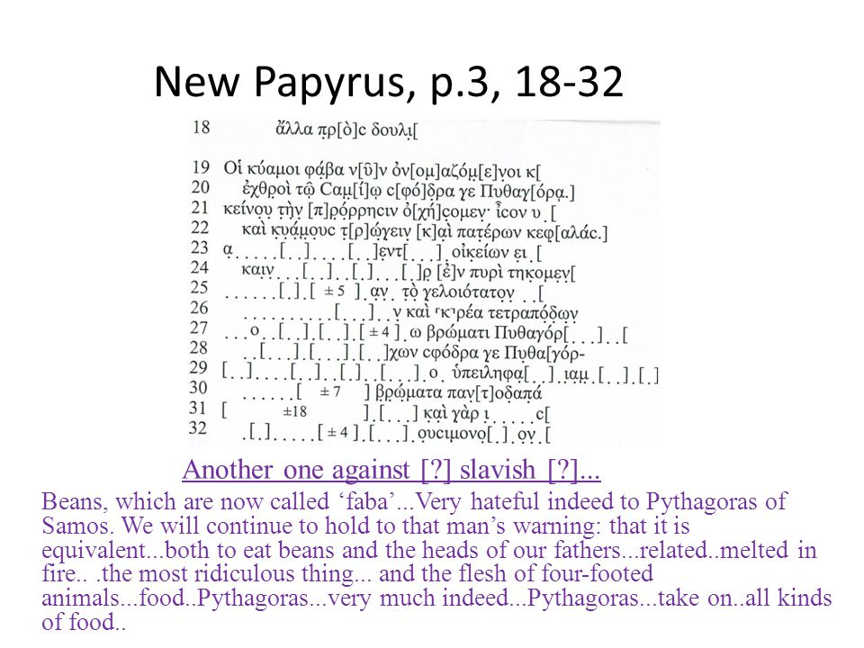 New Papyrus, p.3, 18-32 Another one against [ ] slavish [ ]...