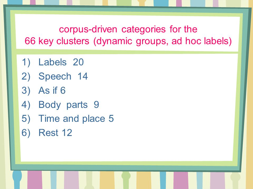 corpus-driven categories for the 66 key clusters (dynamic groups, ad hoc labels) 1)Labels 20 2)Speech 14 3)As if 6 4)Body parts 9 5)Time and place 5 6