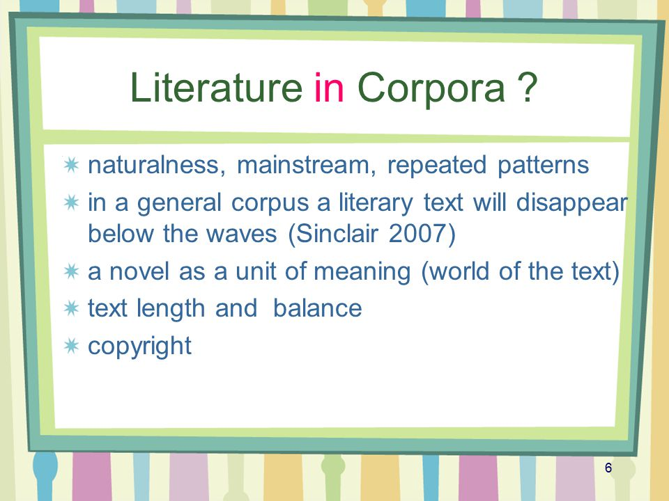 17 Clusters: counting and comparing (norms and deviations) Comparing: General corpora Dickens corpus: ~ 4.5 million words, 23 texts 19th century novel corpus (19C): ~ 4.5 million words, 29 texts, 18 authors key clusters