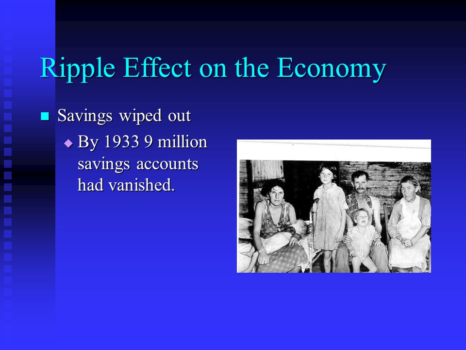 Ripple Effect on the Economy Savings wiped out Savings wiped out  By 1933 9 million savings accounts had vanished.