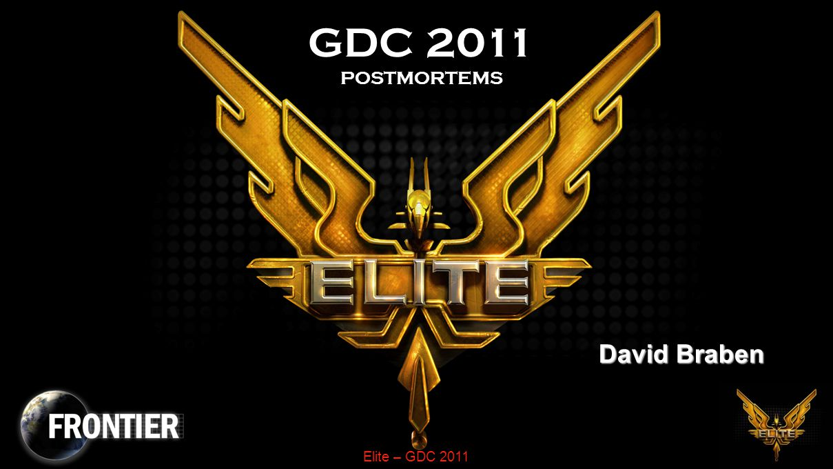 Elite – GDC 2011 Space Ships Needed as high a frame rate as possibleNeeded as high a frame rate as possible –Problem was to get recognisable shapes needed 20+ lines –BUT complex shapes look a mess without hidden line removal –AND couldn't afford the time to rotate and project all the vertices –Fast hidden line removal solved both these Limited shapes to convex hullsLimited shapes to convex hulls –With convex hulls lines are never partially occluded Using symmetry gave further efficienciesUsing symmetry gave further efficiencies –Sharing matrix partial products gave a further 40% speed increase