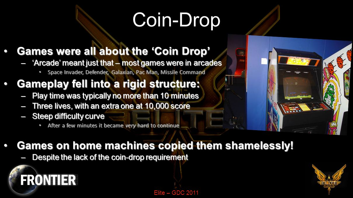 Elite – GDC 2011 Motivation By 1982 games were 'stuck in a rut'By 1982 games were 'stuck in a rut' –Seems remarkable given how young the industry was.