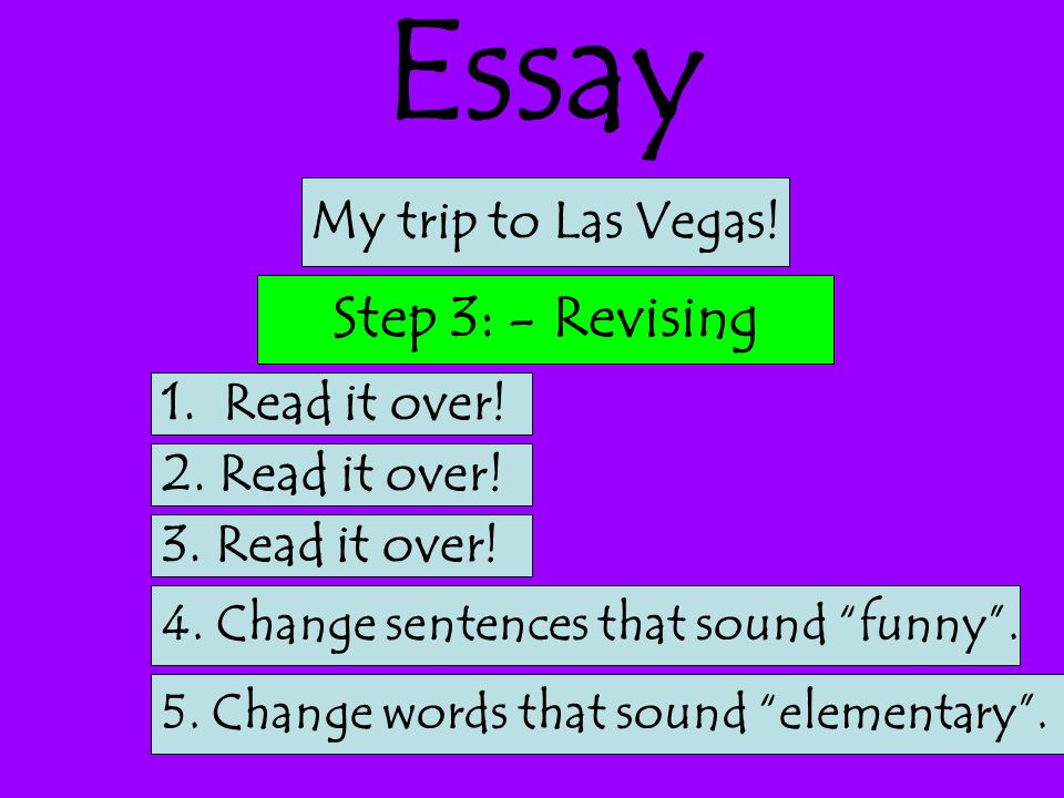 Essay 1.Read it over. Step 3: - Revising My trip to Las Vegas.