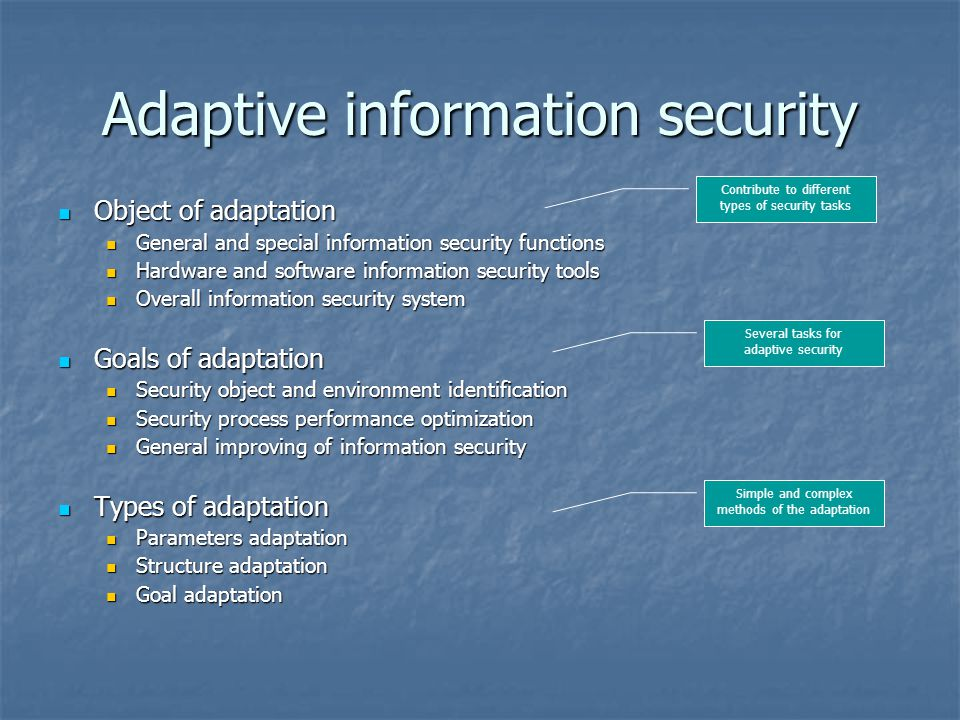 Adaptive information security Object of adaptation Object of adaptation General and special information security functions General and special information security functions Hardware and software information security tools Hardware and software information security tools Overall information security system Overall information security system Goals of adaptation Goals of adaptation Security object and environment identification Security object and environment identification Security process performance optimization Security process performance optimization General improving of information security General improving of information security Types of adaptation Types of adaptation Parameters adaptation Parameters adaptation Structure adaptation Structure adaptation Goal adaptation Goal adaptation Contribute to different types of security tasks Several tasks for adaptive security Simple and complex methods of the adaptation