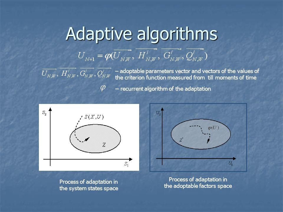 Adaptive algorithms – adoptable parameters vector and vectors of the values of the criterion function measured from till moments of time – recurrent a