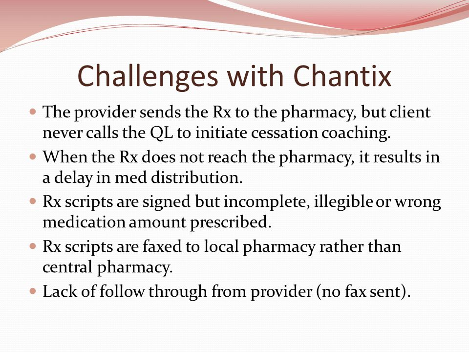 Challenges with Chantix The provider sends the Rx to the pharmacy, but client never calls the QL to initiate cessation coaching.