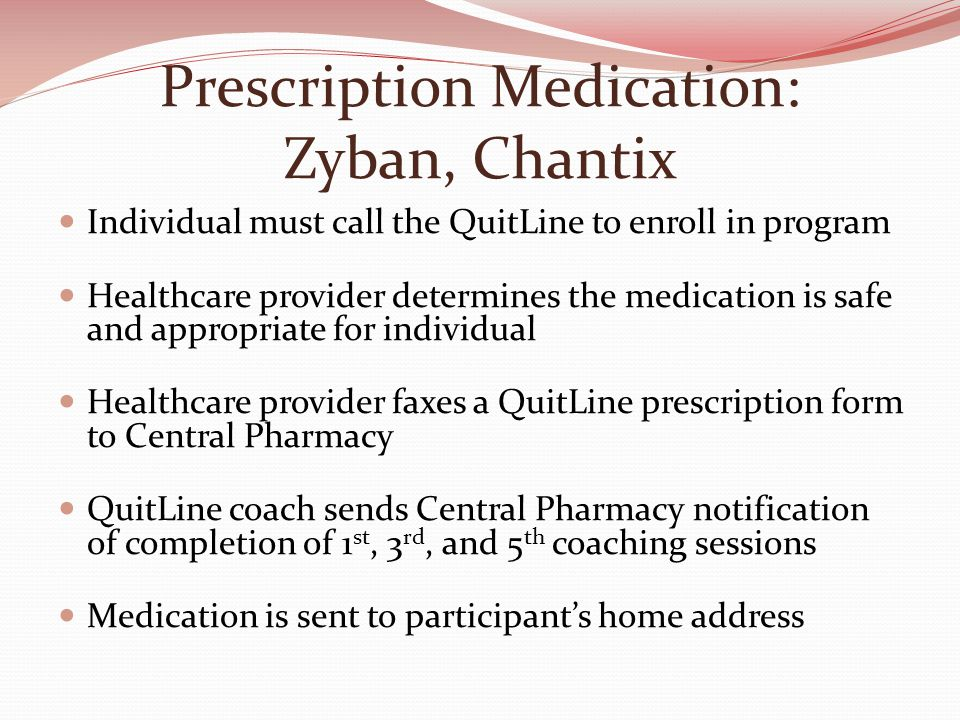 Prescription Medication: Zyban, Chantix Individual must call the QuitLine to enroll in program Healthcare provider determines the medication is safe and appropriate for individual Healthcare provider faxes a QuitLine prescription form to Central Pharmacy QuitLine coach sends Central Pharmacy notification of completion of 1 st, 3 rd, and 5 th coaching sessions Medication is sent to participant's home address