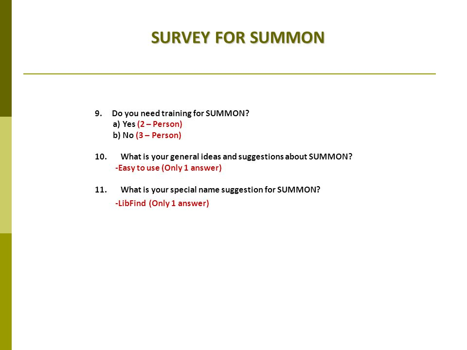 SURVEY FOR SUMMON 9. Do you need training for SUMMON.