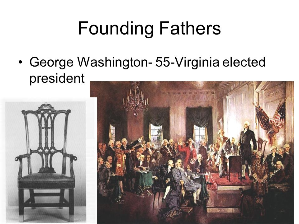 Founding Fathers George Washington- 55-Virginia elected president