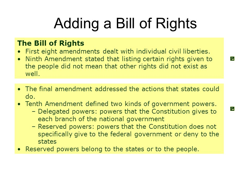 Adding a Bill of Rights The Bill of Rights First eight amendments dealt with individual civil liberties.