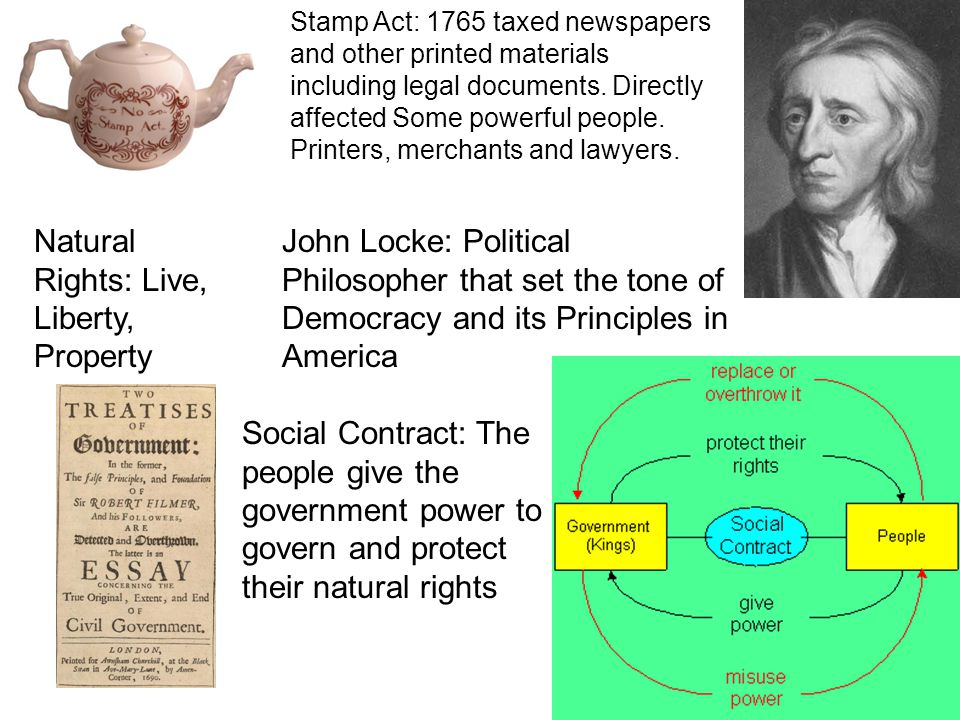 Stamp Act: 1765 taxed newspapers and other printed materials including legal documents.