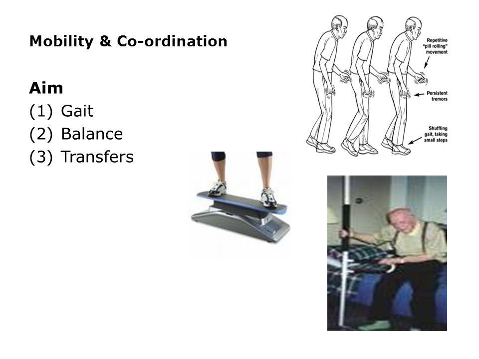 Mobility & Co-ordination Aim (1)Gait (2)Balance (3)Transfers