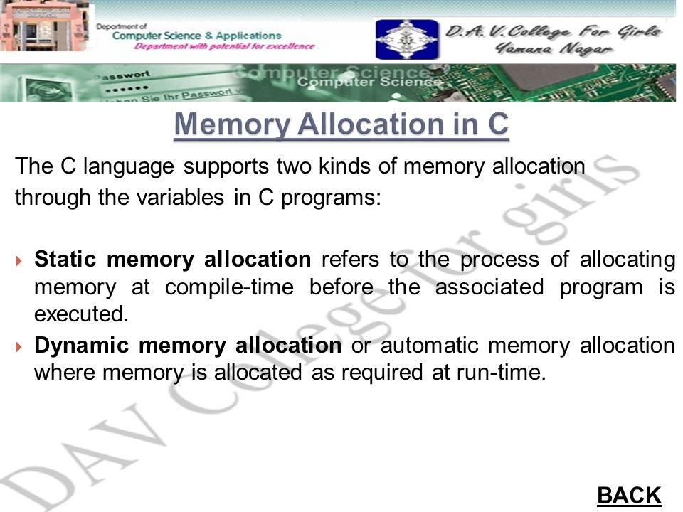 The C language supports two kinds of memory allocation through the variables in C programs:  Static memory allocation refers to the process of alloca