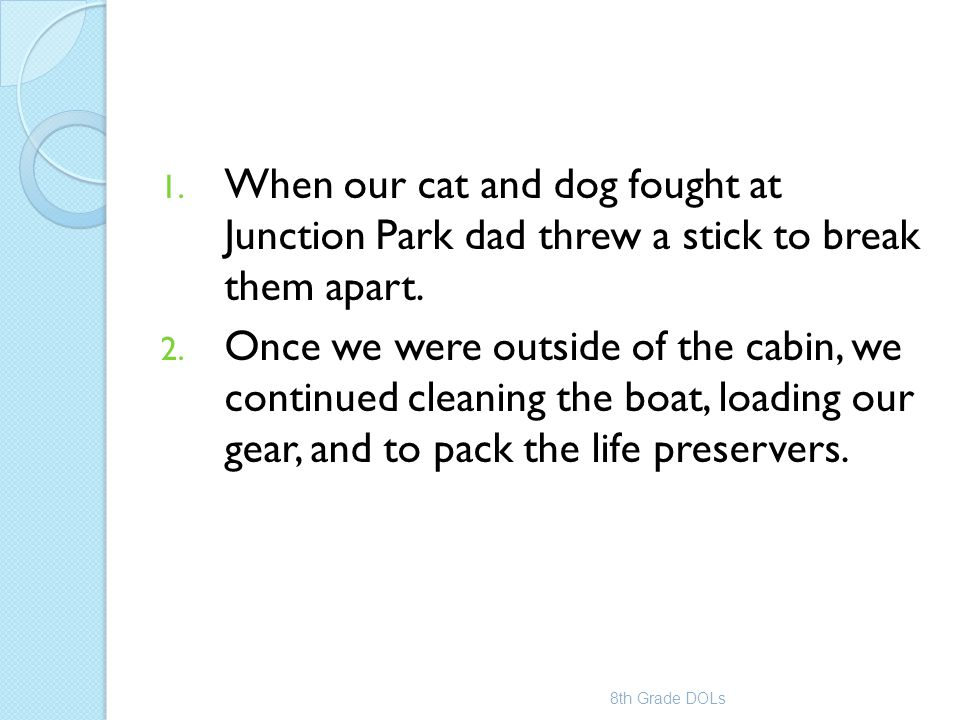 1. When our cat and dog fought at Junction Park dad threw a stick to break them apart. 2. Once we were outside of the cabin, we continued cleaning the