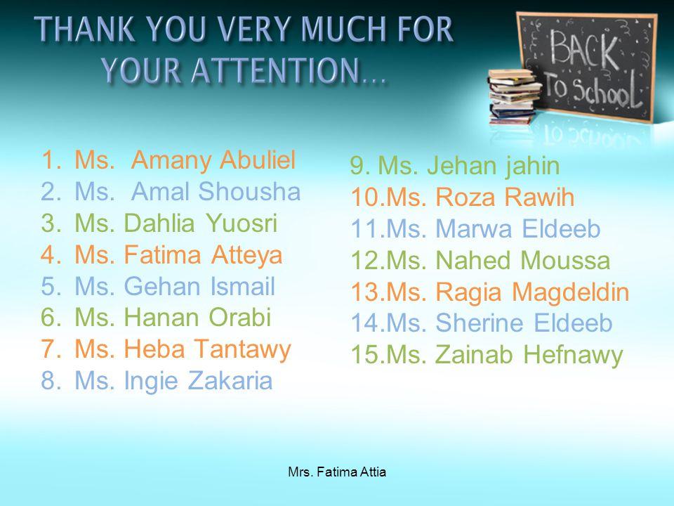Mrs. Fatima Attia 1.Ms. Amany Abuliel 2.Ms. Amal Shousha 3.Ms.