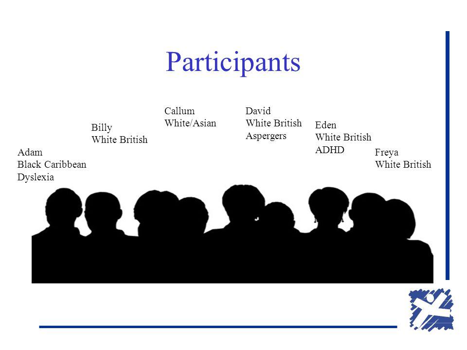 Participants Adam Black Caribbean Dyslexia Billy White British Callum White/Asian David White British Aspergers Eden White British ADHD Freya White British