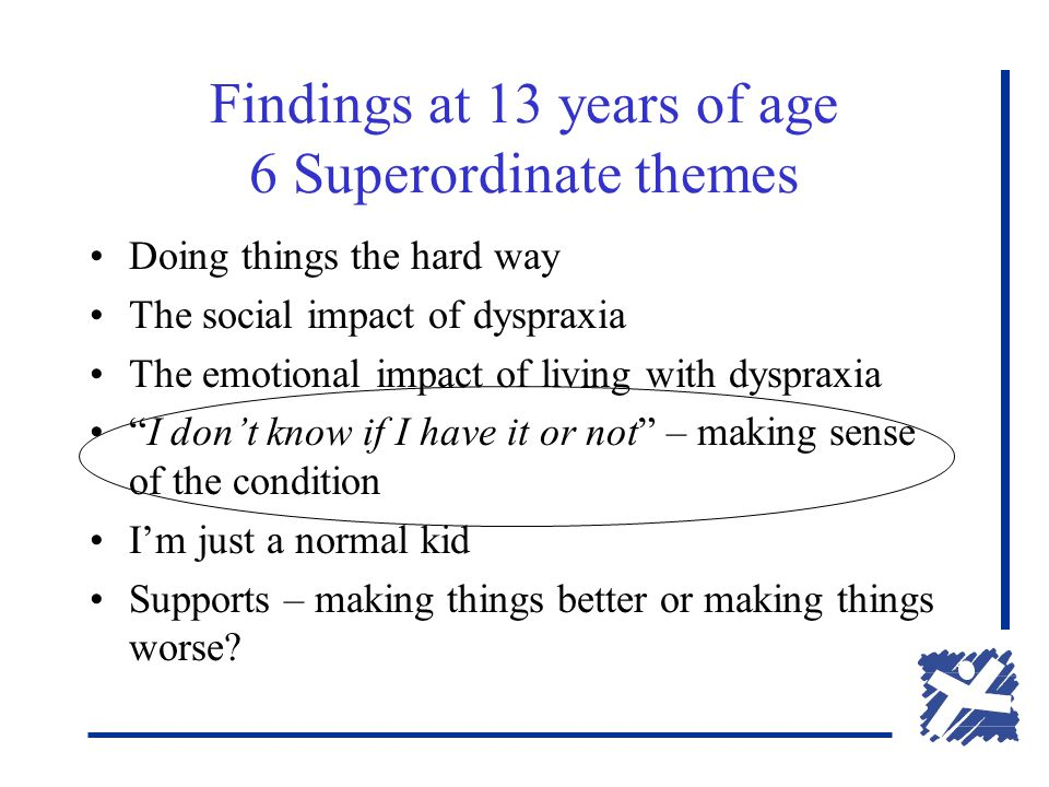 Findings at 13 years of age 6 Superordinate themes Doing things the hard way The social impact of dyspraxia The emotional impact of living with dyspraxia I don't know if I have it or not – making sense of the condition I'm just a normal kid Supports – making things better or making things worse