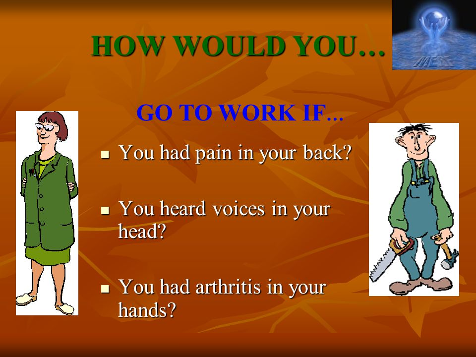 HOW WOULD YOU… You had pain in your back.You had pain in your back.