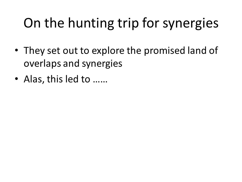 On the hunting trip for synergies They set out to explore the promised land of overlaps and synergies Alas, this led to ……
