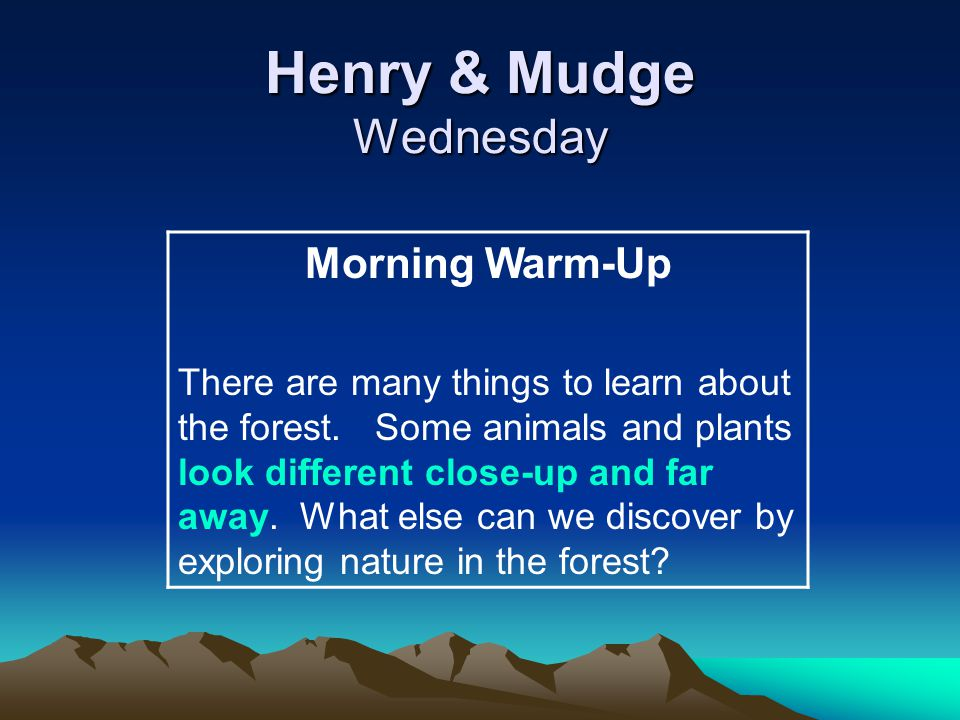 Henry & Mudge Wednesday Morning Warm-Up There are many things to learn about the forest.