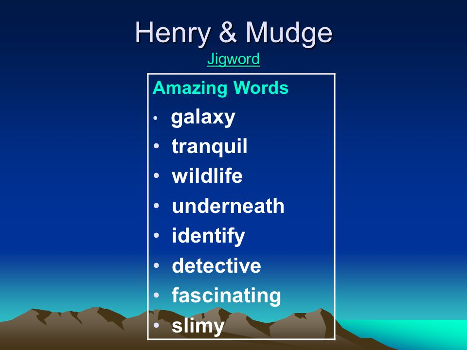 Henry & Mudge Jigword Jigword Amazing Words galaxy tranquil wildlife underneath identify detective fascinating slimy