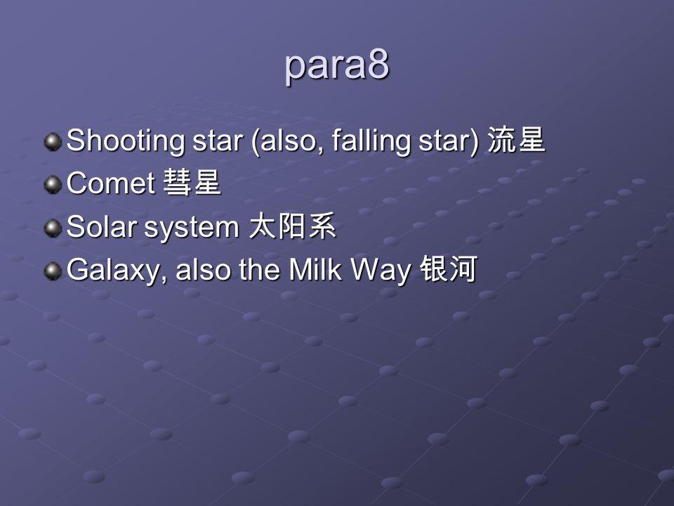 para8 Shooting star (also, falling star) 流星 Comet 彗星 Solar system 太阳系 Galaxy, also the Milk Way 银河