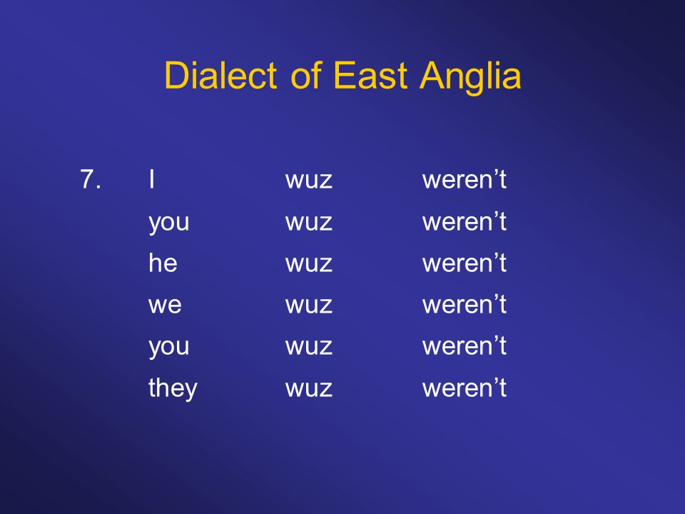 Dialect of East Anglia 7.I wuzweren't you wuzweren't hewuzweren't wewuzweren't youwuzweren't theywuzweren't