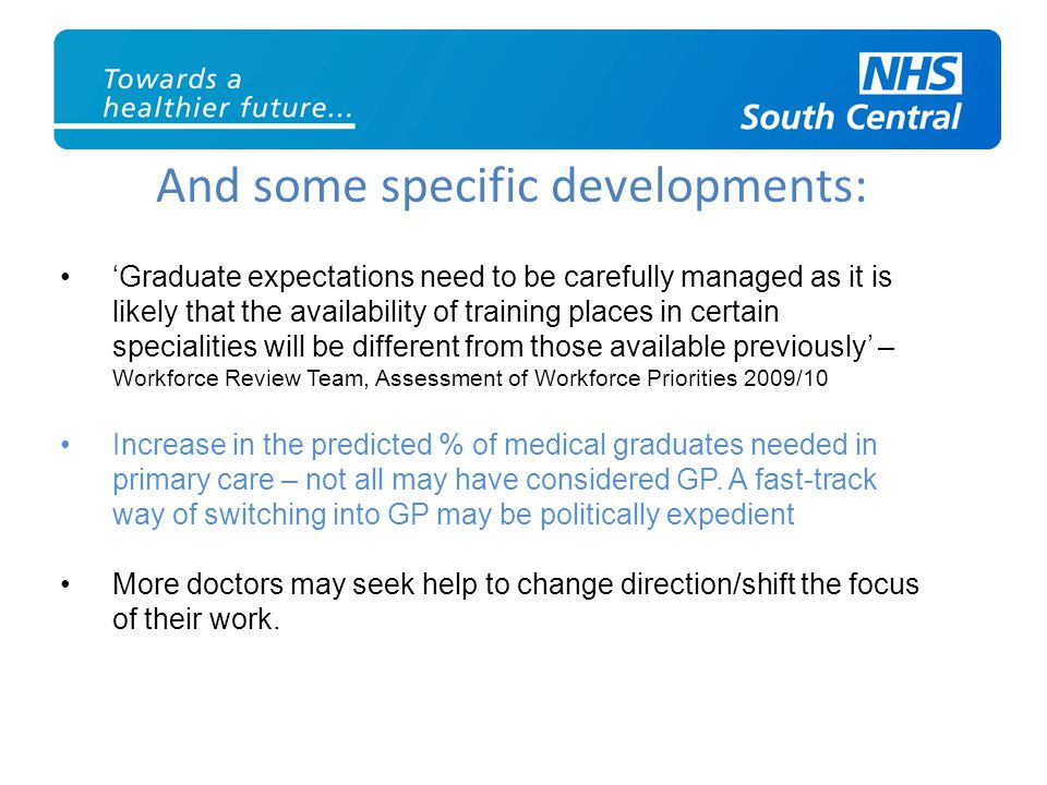And some specific developments: 'Graduate expectations need to be carefully managed as it is likely that the availability of training places in certain specialities will be different from those available previously' – Workforce Review Team, Assessment of Workforce Priorities 2009/10 Increase in the predicted % of medical graduates needed in primary care – not all may have considered GP.