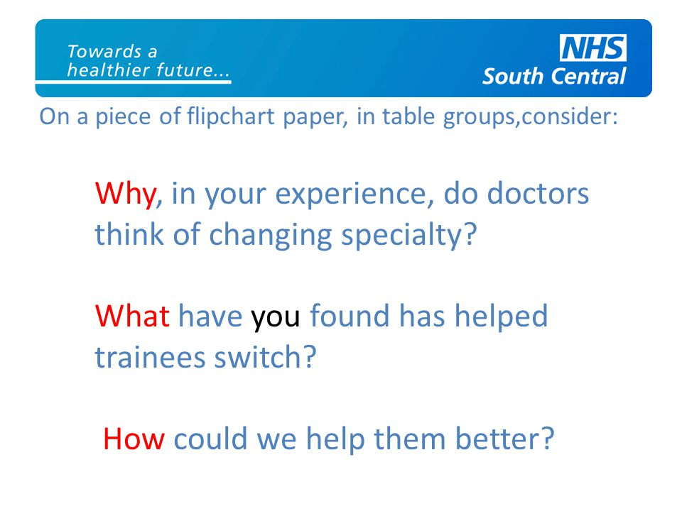 On a piece of flipchart paper, in table groups,consider: Why, in your experience, do doctors think of changing specialty? What have you found has help