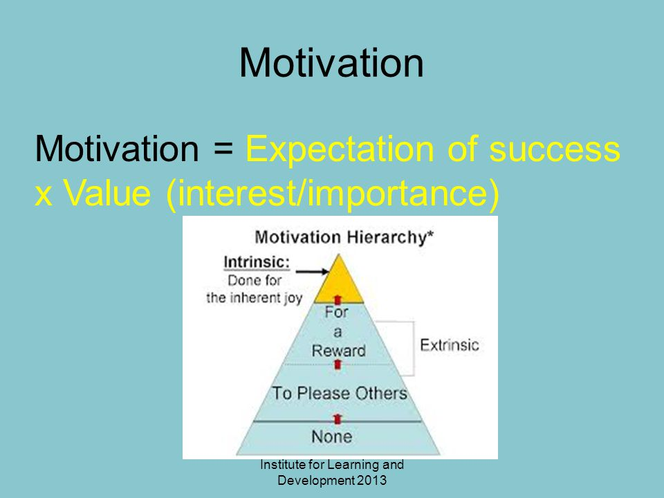 Institute for Learning and Development 2013 Motivation Motivation = Expectation of success x Value (interest/importance)