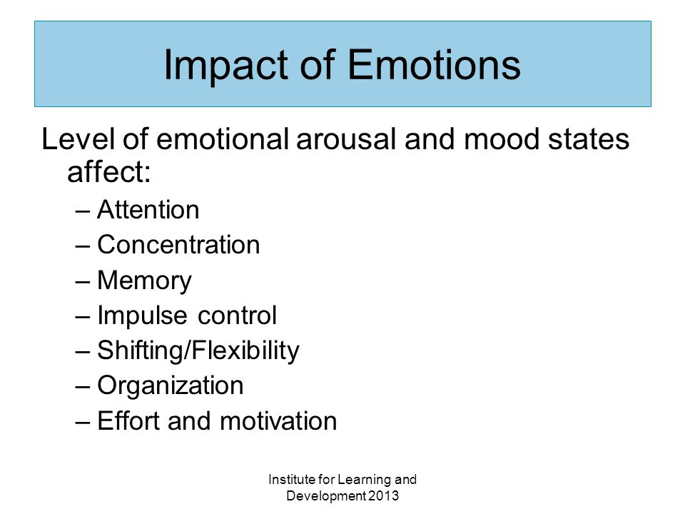 Institute for Learning and Development 2013 Impact of Emotions Level of emotional arousal and mood states affect: –Attention –Concentration –Memory –Impulse control –Shifting/Flexibility –Organization –Effort and motivation