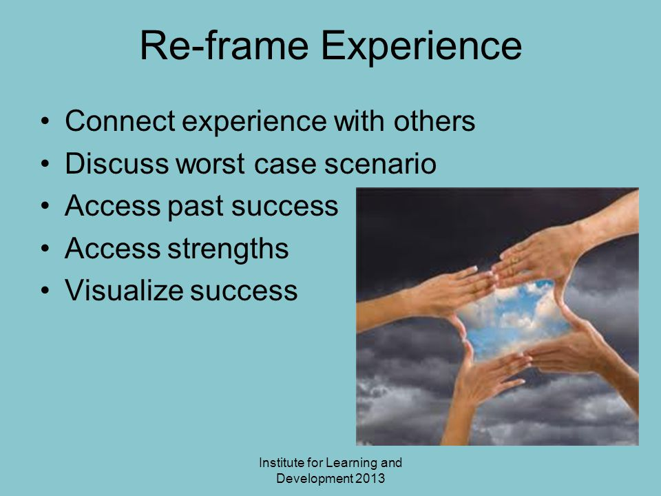Institute for Learning and Development 2013 Re-frame Experience Connect experience with others Discuss worst case scenario Access past success Access strengths Visualize success
