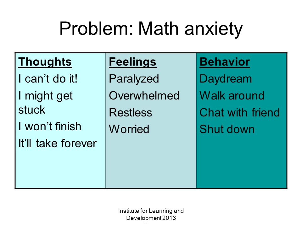Institute for Learning and Development 2013 Problem: Math anxiety Thoughts I can't do it.