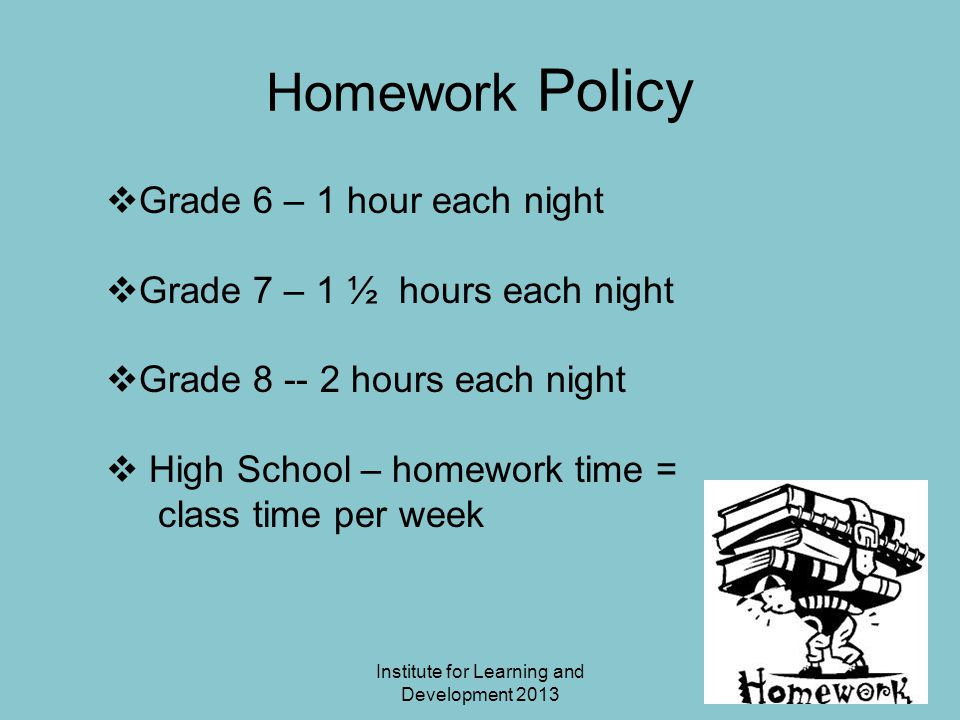 Institute for Learning and Development 2013 Changing the Situation Make a plan with your child as to how to handle stressful homework Encourage breaks when frustration is building Give choices for time/place/assistance Provide accommodations when needed Modify homework as needed