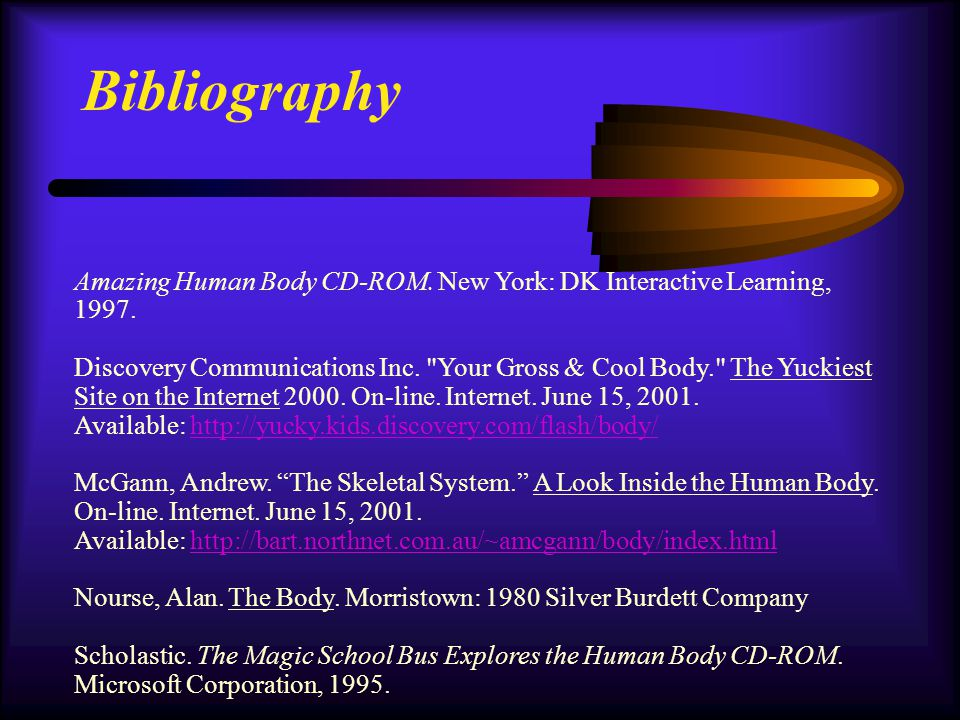 Bibliography Amazing Human Body CD-ROM. New York: DK Interactive Learning, 1997. Discovery Communications Inc.