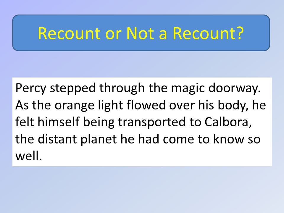 Recount or Not a Recount. Percy stepped through the magic doorway.